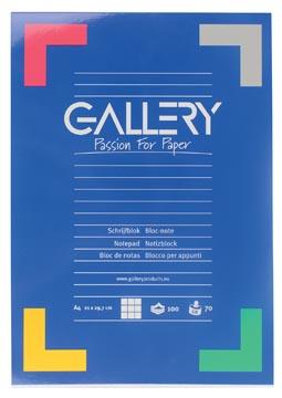 Gallery bloc de papier à lettres, ft A4, 100 feuilles, quadrillé 5 mm