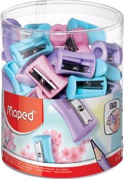 Maped taille-crayon Vivo 1 trou, présentoir de 75 pièces en couleurs pastel assorties