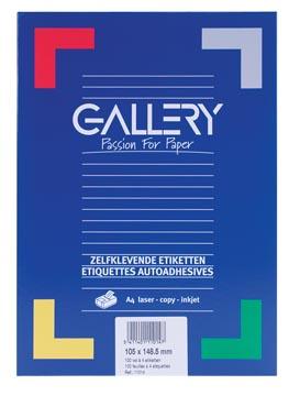 Gallery étiquettes blanches, ft 105 x 148,5 mm (l x h), coins carrés, 4 par feuille