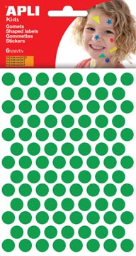Apli Kids gommettes, cercle diamètre 10,5 mm, pochette de 528 pièces, vert