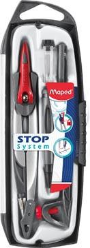 Maped compas Stop System coffret 5 pièces: 1 compas Stop System, 1 bague universelle, 1 taille-mines, ...