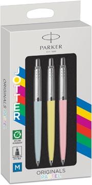 Parker Jotter Originals stylo bille, blister de 3 pièces, rose/bleu/jaune