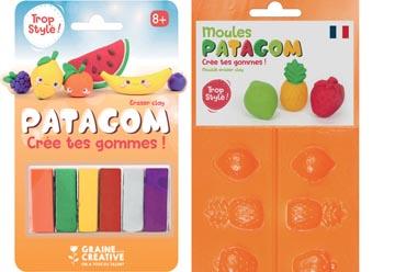 Graine Créative Patagom Pâte à modeler pour effacer, paquet de 12 couleurs