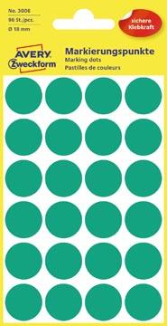 Avery Etiquettes ronds diamètre 18 mm, vert, 96 pièces
