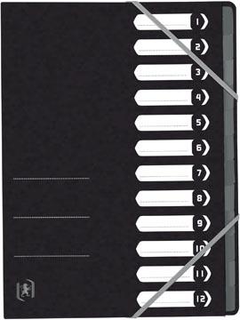 Elba Oxford Top File+ trieur, 12 compartiments, avec des élastiques, noir