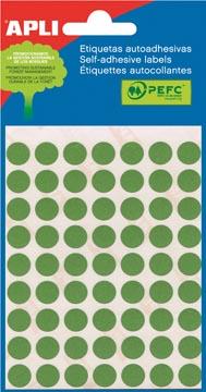 Apli étiquettes rondes en pochette diamètre 10 mm, vert, 315 pièces, 63 par feuille (2054)
