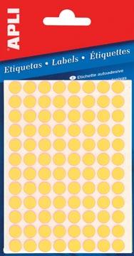 Apli étiquettes rondes en pochette diamètre 8 mm, jaune fluo, 288 pièces, 96 par feuille (2079)
