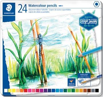 Staedtler crayon aquarelle, boîte métallique avec 24 crayons