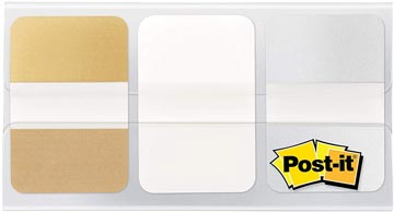 Post-it Index Strong Metallic, ft 25,4 x 38 mm, set de 3 couleurs (or, blanc et argent)