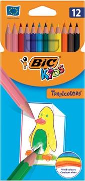 Bic Kids crayon de couleur Tropicolors, 12 crayons en étui cartonné