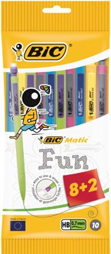 Bic portemine Matic 0,7 mm couleurs fun, sachet brochable de 8 + 2 gratuit