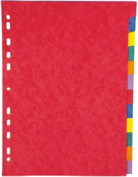 Pergamy intercalaires, ft A4, perforation 11 trous, carton solide, couleurs assorties, 12 onglets