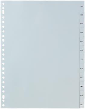 Pergamy intercalaires, ft A4, perforation 23 trous, PP gris, januari-december
