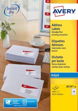 Avery J8159-10 étiquettes adresse ft 63,5 x 33,9 mm, 240 étiquettes, blanc