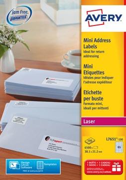 Avery L7651, Etiquettes d'expédition, Laser, Ultragrip, blanches, 100 pages, 65 per page, 38,1 x 21,2 mm