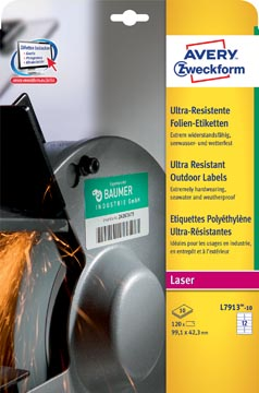 Avery étiquettes polyéthylène ultra-résistantes ft 99,1 x 42,3 mm (l x h), boîte de 120 étiquettes