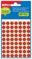 Apli étiquettes rondes en pochette diamètre 10 mm, rouge, 315 pièces, 63 par feuille (2053)
