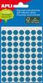 Apli étiquettes rondes en pochette diamètre 8 mm, bleu, 288 pièces, 96 par feuille (2045)